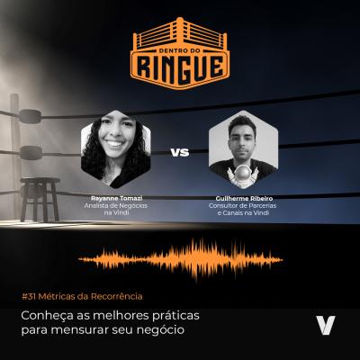 Métricas da Recorrência - Episódio 31 - capa do podcast com as fotos de Raynne e Guilherme